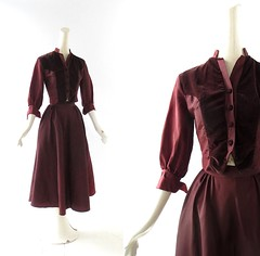 1940s brown taffeta and wool top and skirt set (Small Earth Vintage) Tags: brown velvet 1940s taffeta 40s vintageclothing skirtsuit vintagefashion womensfashion dressset twopiecedress smallearthvintage