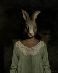 Further Down The Rabbit Hole ([ theresa ]) Tags: portrait rabbit green art beauty rose fairytale vintage dark photography sadness dress darkness hole mask w dream surreal down story theresa fairy dreamy nightmare saturn concept further melancholy conceptual tale the