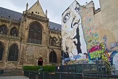 Paris Art (Herculeus.) Tags: paris france building art architecture stairs buildings painting landscape outdoor oct churches fences pompidoucenter streetscenes flyingbuttresses catholicchurches 5photosaday urbanstreetart