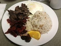Filipino breakfast.  Eggs, garlic-fried rice, tocino (caramelized BBQ pork) and tapa (seasoned beef) (canadianlookin) Tags: food breakfast winnipeg rice beef egg pork garlic filipino