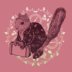 Society Squirrel (minniemorrisart) Tags: flowers art nature floral animal animals illustration vintage artwork squirrel arty drawing wildlife picture draw creature simple illustrationart