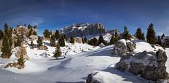 Sella (nils_P) Tags: blue trees winter sky italy panorama white snow mountains canon rocks alto trentino dolomites adige sellaronda