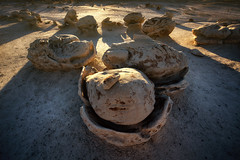 Egg Hatchery (Brian Truono Photography) Tags: travel sunset newmexico nature rock stone landscape sandstone desert wind erosion formation explore badlands geology wilderness hdr highdynamicrange windblown hoodoos hatchery geological bistibadlands mudstone denazin