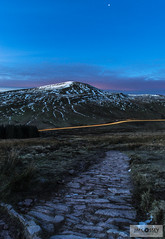 First Light Fan Fawr (JimCosseyPhotography) Tags: uk blue winter sky cloud snow mountains nature wales sunrise stars photography dawn landscapes fan nationalpark amazing nikon long exposure skies outdoor path ngc wideangle brecon beacons carlights penyfan d610 fawr lightrails