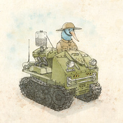 Captain Kettle (Junkyard Sam) Tags: art illustration army poetry tank drawing atv booyah