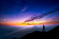 Sunset hiker (LingHK) Tags: sunset sky sun mist mountains nature water silhouette fog clouds landscape hongkong dawn evening coast outdoor dusk peak hike adventure hiker overlook sunsetpeak