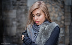 Alexandra (eddy_737) Tags: street blue portrait urban woman paris cold girl face fashion seine contrast canon 50mm gris model eyes dof bokeh gray style bleu