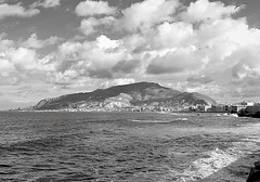 The clouds above the mountain (Francesco Impellizzeri) Tags: white mountain seascape black monochrome clouds landscape sicily erice trapani