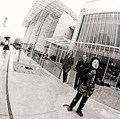 Last Snow (kirstiecat) Tags: street winter boy blackandwhite snow chicago monochrome weather tongue america illinois kid spring downtown child seasons unitedstates loop artinstituteofchicago artic fisheyelens sleet monochromemonday
