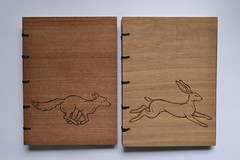 DSC_4328 (scattering_poems) Tags: wood nature animal paper notebook book sketch hare walnut running binding coptic woodburning pyrography