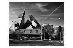 Chrystusa Krola (Barnaby Nutt) Tags: orange white black church architecture modern poland filter terrible ugly pl wrocaw anticommunist wojewdztwodolnolskie