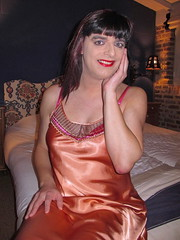 Happy smile (Paula Satijn) Tags: orange hot sexy girl shiny silk tgirl tranny transvestite satin gurl silky nightdress nightie