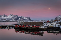 Svolvr at full moon (Elin Jakobsen) Tags: ocean winter sunset sea moon seascape mountains nature norway landscape seaside twilight ngc fullmoon moonlight lofoten stockfish winterlandscape svolvaer svolvr lofotenislands