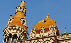 The Orange Domes of Casa Rocamora (Sorin Popovich) Tags: barcelona orange color architecture buildings tile ceramic spain europe catalonia dome ornate neogothic clearsky ceramictiles passeigdegrcia locallandmark buildingexterior