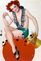 Madeline Shea, Real Screen Fun cover, March 1936 by Walt Otto (Tom Simpson) Tags: music woman girl smile illustration 1936 vintage painting boobs redhead cover topless pinup pinupart waltotto realscreenfun madelineshea