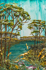 LS24X36-2016-113 (Justin Gaffrey) Tags: trees lake art nature water painting artist waves florida coastal pines wildflowers acrylicpaint seaoats 30a lakescape westernlake sowal justingaffrey