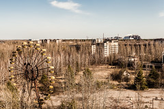 Looming (Flash and Blur) Tags: landscape outdoor sarcophagus ferriswheel radioactive reactor chernobyl pripyat nucleardisaster