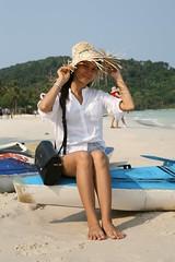 2016-03-09 Phu Quoc Island, Vietnam028 (HAKANU) Tags: sea woman feet beach hat lady female boat sand bath asia sitting feminine vietnam phuong wife wifeah