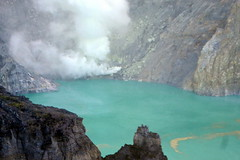 Sulfur mine on the other shore of the crater lake (gecgab) Tags: ijen