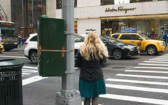 Colors of New York: green(ish) (Igor Voller) Tags: auto street new york nyc woman usa bus green girl yellow rock shop lady hair us back crossing box manhattan taxi stripe pedestrian skirt litter gelb boutique blonde grn geschft greenish  haar                 strase frulein