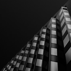 domino (gkphotography.lt) Tags: city windows light sky urban blackandwhite abstract holland building netherlands monochrome lines architecture square landscape rotterdam pattern fuji angle geometry shapes minimal diagonal minimalism minimalistic silverefexpro skancheli fujixt1