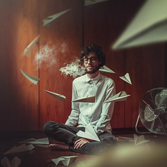 Flow of thoughts (isabs) Tags: boy portrait brown paper flow glasses fly wind smoke air creative manipulation procrastination concept conceptual paperplane