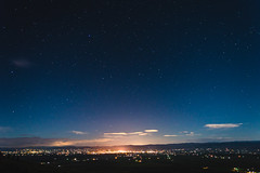 Stars over Ellensburg (JustinMullenPhotography) Tags: city trees sky moon mountain college night dark stars lights washington university space central astrophotography ellensburg