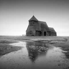 Little church on the marsh (GlennDriver) Tags: bw white black reflection church water mono kent long exposure outdoor marsh