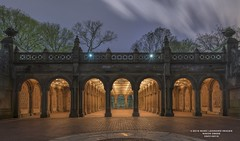 BETHESDA TERRACE, CENTRAL PARK, NY. (BLASKO25) Tags: park city nyc ny lightpainting fountain night outdoors photography spring nikon alone terrace outdoor weekend homeless central columns saturday right inner solo stuff really bethesda gitzo blasko drenched iloveny the in rrs 2016 d800e blasko25