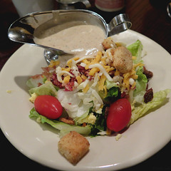 Salad with blue cheese vinaigrette (Coyoty) Tags: red food brown white color green cheese square restaurant salad connecticut tomatoes ct dressing lettuce squareformat crouton bluecheese rockyhill vinaigrette woodntap