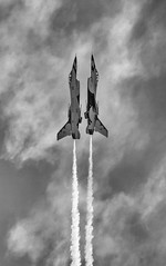 Vertical Reflection (Dtek1701) Tags: sky blackandwhite bw reflection art monochrome airplane mono riverside jets twin airshow f16 handheld southerncalifornia edit airfest fighterjet marcharb airforcethunderbirds 18135oiswr