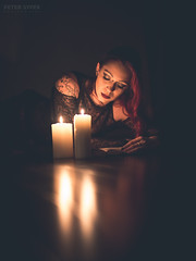 Nightly read (Peter011235) Tags: light night dark reading book candles candle lowkey