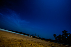 Sail into the Night (sumehrgwalani) Tags: sea beach night stars boat nightsky srilanka tress longexpo