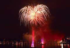 Royal Docks, London, UK (Maria Kotsonia) Tags: red london night docks fire purple fireworks royalvictoria royaldocks