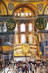 Interior of Hagia Sophia (Albert Jafar) Tags: people museum turkey interior basilica indoor arches istanbul mosque hagiasophia architechure ayasofya mihrab patrons mimbar photograopherswharf islamiccaligraohy byzantinearchitechture