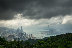 Moody skies over Victoria Harbour (amdavies207) Tags: sky hk mountain skyline clouds landscape hongkong cityscape hiking sony victoriaharbour section2 a6000 sel18105