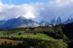 So finally the sun and the mountains came out to play (popinjaykev - living the Italian dream) Tags: italy snow italia view balcony abruzzo gransasso