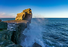 pulpit rock wave (Anthony White) Tags: ocean uk blue light sea england seascape rock portland coast waves sony bluesky nopeople dorset splash pulpit jurassic sonyalpha weymouthandportlanddistrict