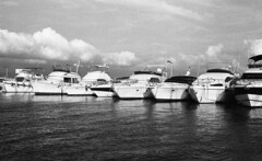 8245.Boats (Greg.photographie) Tags: sea blackandwhite bw mer film analog port canon boats eos boat noiretblanc voigtlander 400 f2 40mm eos1n hyeres foma ultron hyres r09