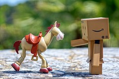 Nuevas amistades (mike828 - Miguel Duran) Tags: friends horse amigos zeiss toy caballo robot dof bokeh sony story carl slt juguete sonnar danbo vario revoltech 1680mm perdigon danboard a77v