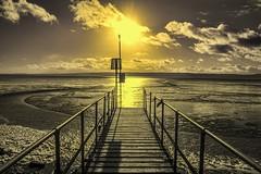 West Kirby, Wirral. (simon.nettleship) Tags: uk travel blackandwhite sun beach landscape coast pier photo seaside cheshire follow adventure westkirby followme