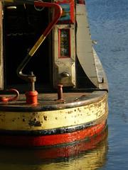 Boat Stern (cycle.nut66) Tags: door leica red reflection london water lumix boat canal cream panasonic deck stern narrow narrowboat regents tiller elmarit fz8 fellowesmortonandclayton
