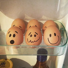It's The Weekend. (Cathy G) Tags: instagram eggs iphone iphone5 iphoneography sharpie breakfast smile faces squareformat justforfun fridge home