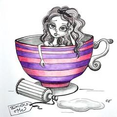 Alice World Problems (Enchanted Fields) Tags: pencil sketch alice originalart eatme teacup coloredpencils wonderland graphite aliceinwonderland inkart drinkme aliceart