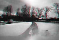 Brooklyn, New York (DDDavid Hazan) Tags: winter blackandwhite bw ice stereophotography 3d iceskating skating anaglyph rink stereo3d redcyan redcyan3d bwanaglyph 3dstereophotography 3danglyph