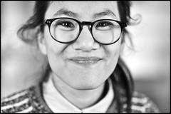 Charlotte, 2015 (Franck Pdersol) Tags: portrait blackandwhite photo et fille sourire blanc lunette noi asiatique jeune