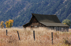 Roadside Barn (Robert F. Carter Travels) Tags: mountain mountains architecture fence barns fences grandtetonnationalpark moultonbarn