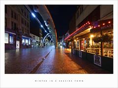 Winter in a seaside town (Parallax Corporation) Tags: street winter light rain reflections seaside pub nightime blackpool
