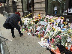 David Bowie Death New York Apartment Memorial 2016 7 (david_shankbone) Tags: flowers newyork death memorial apartment tribute fans davidbowie died lafayettestreet