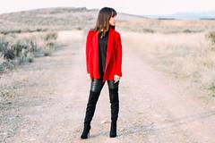 Girl On Fire (torikkuma) Tags: road red portrait black girl fashion canon 50mm desert outdoor dirt jacket